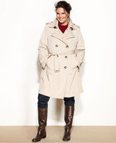 London Fog Plus Size Double-Breasted Belted Trench Coat