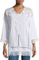 XCVI Bottega Eyelet Fringe-Trim Tunic, White