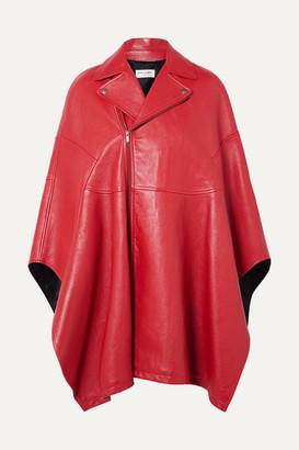 Saint Laurent Asymmetric Leather Cape - Red