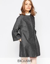 Helene Berman Fluted Sleeve Jacket In Textured Metallic Check