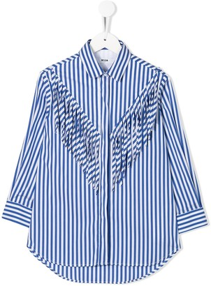 MSGM Kids striped-print fringed shirt