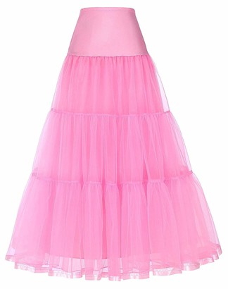 HaoHuodress Women's A-Line Petticoat Long Crinoline Ankle Length Elastic Wedding Underskirt Half Slip M