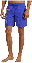 Lacoste Graphic Print Swim Trunk 6.5 (Obscure Blue/Starfruit Yellow) - Apparel