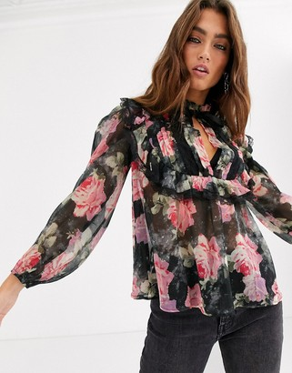 ASOS DESIGN floral blouse with ruffle and lace detail