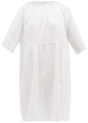 POUR LES FEMMES Karachi Striped Cotton Nightdress - Blue Stripe