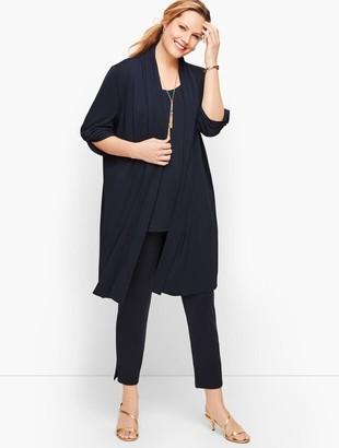 Talbots Knit Jersey Twist Sleeve Open Cardigan