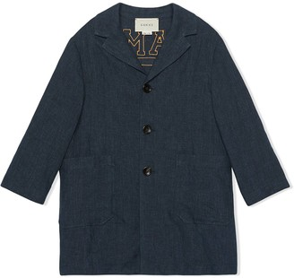Gucci Kids embroidered single-breasted denim jacket
