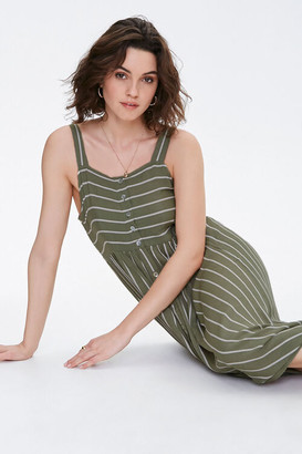 Forever 21 Striped Button-Front Midi Dress