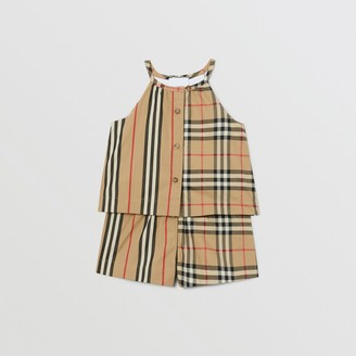 Burberry Vintage Check and Icon Stripe Cotton Playsuit