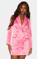 4fashion Pink Satin Contrast Detail Button Up Blazer Dress