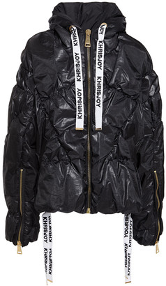 KHRISJOY Quilted Organza Hooded Down Jacket