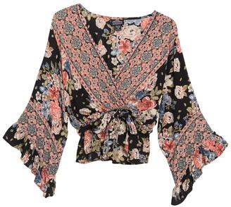 Angie Floral Faux Wrap Tie Waist Top
