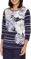 Alfred Dunner Floral Stripe Tee