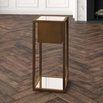 "Global Views Escher Square Pedestal Plant Stand Size: 20"" H x 14"" W x 14"" D, Color: Brass"