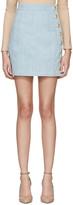 Balmain Blue Denim Side Buttons Miniskirt
