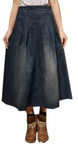 ACE SHOCK Women's Elastic Waist Relaxed Denim Jeans Long Full Skirts (XL)