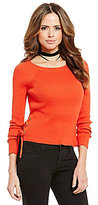 Gianni Bini Page Side Lace-Up Long Sleeve Pullover Rib Sweater