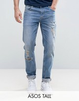 Asos TALL Stretch Slim In Mid Blue With Rips & Abrasions