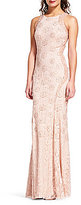 Adrianna Papell Halter Neck Beaded Mermaid Gown