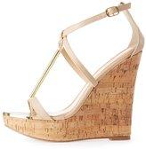 Charlotte Russe Gold-Trim T-Strap Wedge Sandals