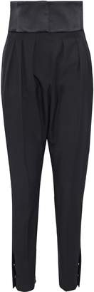 Lanvin Satin-paneled Pleated Wool-twill Tapered Pants