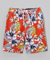 E-Land Kids Orange Hawaiian Boardshorts - Toddler & Boys
