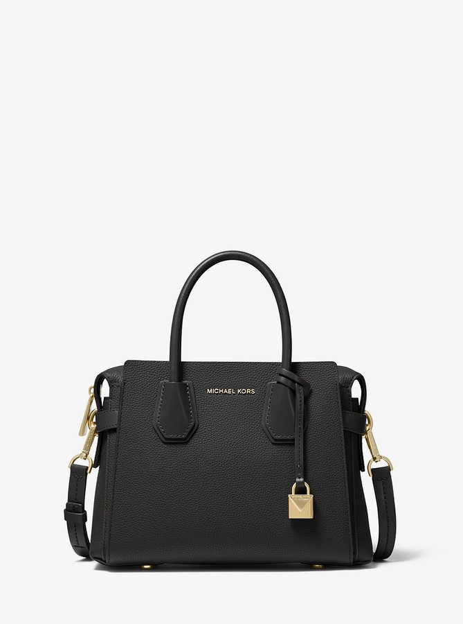 MICHAEL Michael Kors Mercer Small Pebbled Leather Belted Satchel