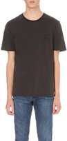 The Kooples Embroidered jet pocket cotton-jersey t-shirt