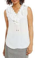 Jones New York Soft Ruffle Lace-Up Top