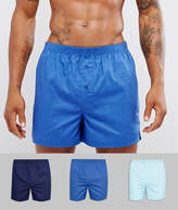 Asos Woven Boxers In Blues 3 Pack SAVE