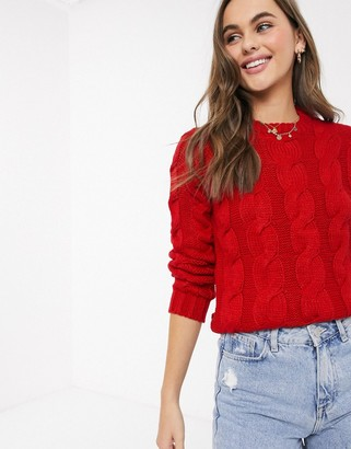 Brave Soul craft cable knit jumper in red
