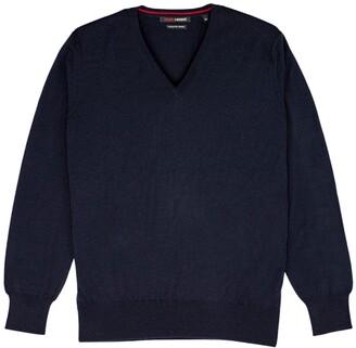 Romeo Merino - Merino Wool V-Neck Sweater Blue Peacoat