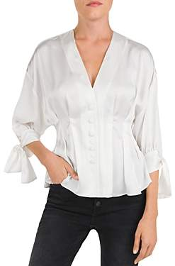 The Kooples Pleated Button-Front Tie-Cuff Blouse