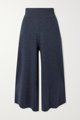 Stella McCartney Ribbed Melange Wool And Alpaca-blend Culottes - Navy