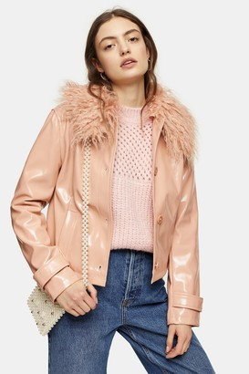 Topshop Peach Faux Fur Collar Crop PU Coat
