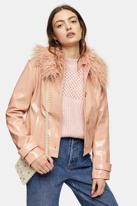 Topshop Womens Peach Faux Fur Collar Crop Pu Coat - Peach