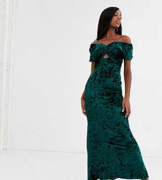 Flounce London Tall velvet maxi dress with fishtail in emerald