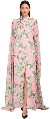 Richard Quinn Twist Printed Georgette Cape Dress