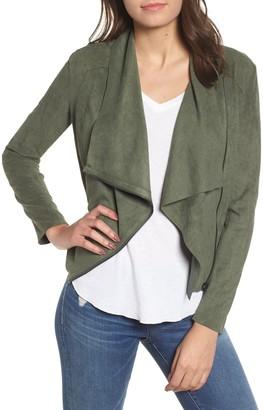Blanknyc Denim Faux Suede Drape Front Jacket