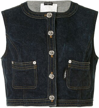 Chanel Pre Owned Cropped Denim Vest