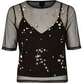 River Island Womens Black mesh gem embellished T-shirt