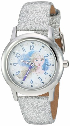 Disney Girls' Frozen 2 Stainless Steel Analog Quartz Watch with Patent Leather Strap
