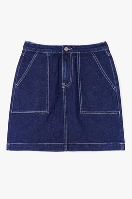 Nasty Gal Womens Outta Line Contrast Denim Mini Skirt - Blue - S