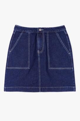 Nasty Gal Womens Outta Line Contrast Denim Mini Skirt - Blue - S