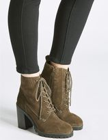Marks and Spencer Suede Block Heel Lace-up Ankle Boots