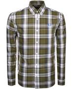 Fred Perry Long Sleeved Twill Check Shirt Green