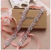 Yanstar Rose Gold Beads Bridal Belt Sashes Blush Wedding Bridesmaid