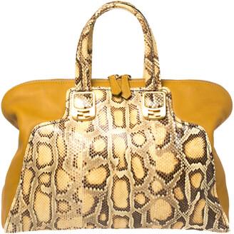 Fendi Yellow Honey Python and Leather Large Chameleon Satchel