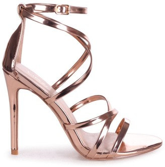 Linzi JENNIFER - Rose Gold Chrome Strappy Stiletto Heel With Ankle Strap