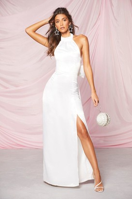 boohoo Occasion Satin High Neck Bow Back Maxi Dress